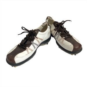 ECCO Classic Stripe Lace Up Golf Cleats Shoes Brown White